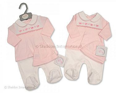 Smocked Baby Girls Faux 2 pcs Set with Hat - Little Birds - Wholesale