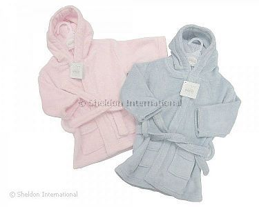 Baby Coral Fleece Bathrobe - Pink and Sky - Wholesale