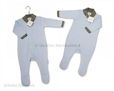 Baby Boys Knitted Cotton Romper with Feet - Wholesale
