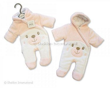 Baby Padded Snowsuit - Teddy - Pink - Wholesale