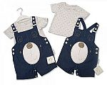 Baby Boys 2 pcs Denim Dungaree Set - Teddy