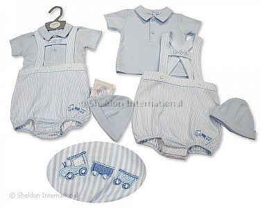 Baby Boys 2 pcs Dungaree Set with Hat - Abc - Wholesale