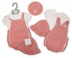 Baby Girls 2 pcs Dungaree Set with Hat