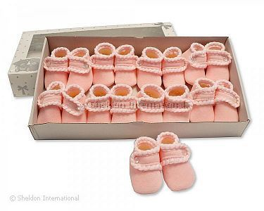 Baby Booties with Button Closure - Pink - Wholesale