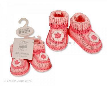 Knitted Baby Girls Booties - Flower - Wholesale