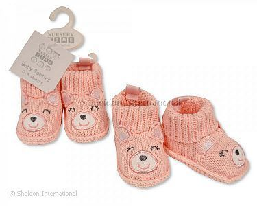 Knitted Baby Girls Booties with Face Decoration - Wholesale