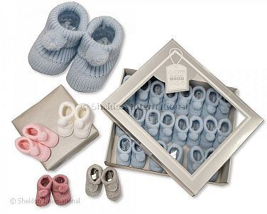 Knitted Baby Booties with Pompoms - Wholesale