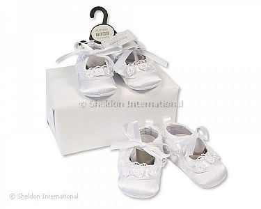 Baby Girls Christening Shoes - Rosebuds and Lace - Wholesale