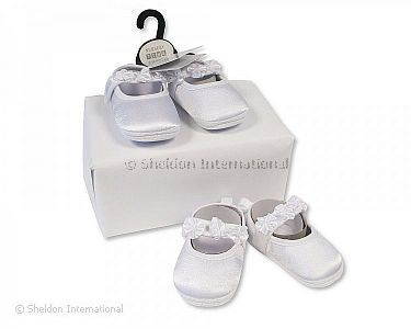 Baby Girls Christening Shoes with Tabs and Rosebuds - Wholesale