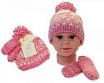 Wholesale Girls Knitted Pom-Pom Hat and Mitten Set with Lining