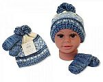 Wholesale Boys Knitted Pom-Pom Hat and Mitten Set with Lining