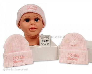 Baby Girls Knitted Hat - I Love Mummy - Wholesale