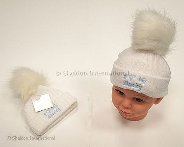 Baby Boys Knitted Pompom Hat - I Love Daddy - Wholesale
