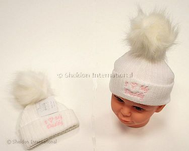 Baby Girls Knitted Pompom Hat - I Love Daddy - Wholesale