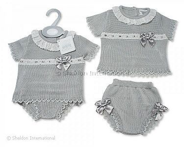 Knitted Baby 2 Pieces Set with Bows - Wholesale