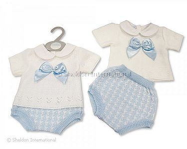 Knitted Baby Boys 2 pcs Set with Bow - Wholesale