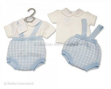 Knitted Baby Boys 2 pcs Set with Suspenders - Wholesale