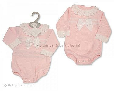 Knitted Baby Girls Short Romper with Bow - Wholesale
