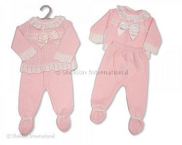 Knitted Baby Girls Long 2 pcs Set with Bow - Wholesale
