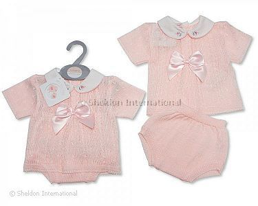 Baby Girls Knitted 2 Pieces Set with Bow - Wholesale