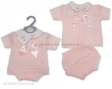 Baby Girls Knitted 2 pcs Set with Bow - Wholesale