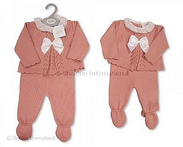 Knitted Baby Girls Long 2 pcs Set with Bow and Lace - Wholesale