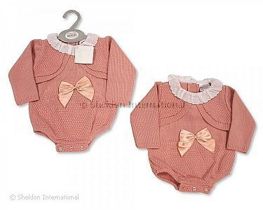 Knitted Baby Girls Short Romper with Bow and Lace - Wholesale