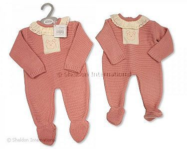 Knitted Baby Girls Long Romper with Lace - Wholesale