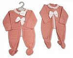 Knitted Baby Girls Long Romper with Bow and Lace