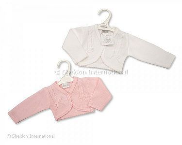 Knitted Baby Girls Bolero Cardigan - 101 - Wholesale