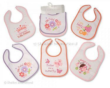 Baby Bibs Girls - PEVA Back - Packs of 5 - Wholesale