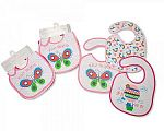 Baby Bibs Girls with PEVA Back - 3 Pack
