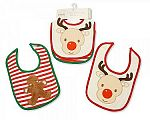 Wholesale Christmas Cotton Bibs 2 Pack - Reindeer