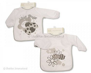 Baby Terry Bibs with Sleeves - Bee/ Ladybird - Wholesale