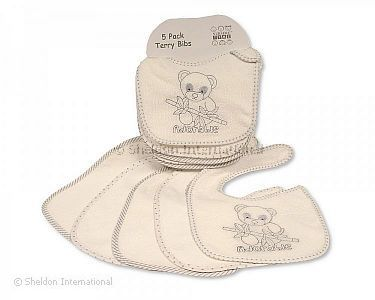 Baby Terry Bibs 5 Pack - Panda - Wholesale