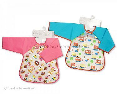 Baby PEVA Bibs with Sleeves -  Bus/ Cakes - Wholesale