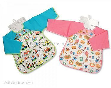 Baby PEVA Bibs with Sleeves - Cars/ Food - Wholesale