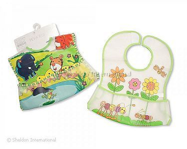 Small Baby PEVA Bibs with Pocket - Safari/ Garden - Wholesale