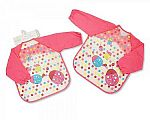 Baby Girls PEVA Bibs with Sleeves - Ladybirds