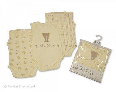 3 Pack Sleeveless Env Neck Cotton Bodysuit -Ecru - Wholesale