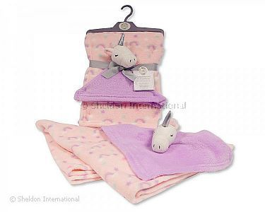 Baby Blanket with Unicorn Comforter - Pink - Wholesale