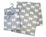 Printed Baby Wrap - Teddy - Grey