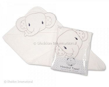 Baby Hooded Towel - Elephant - White - Wholesale