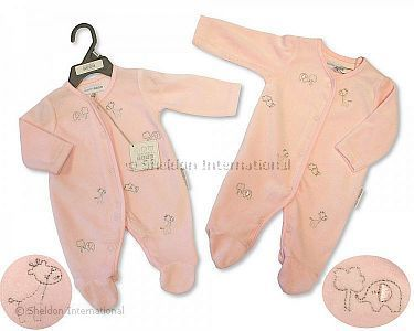 Baby Girls Velour All in One - Animals - Wholesale