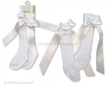 Baby Knee Length Socks with Bow - White - Wholesale