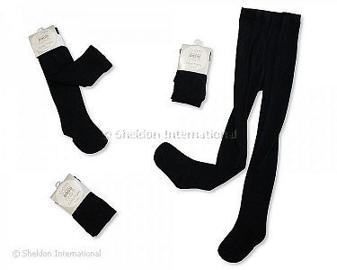 Baby Cotton Tights - Black - Wholesale