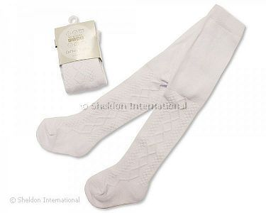 Baby Cotton Tights - White - Wholesale
