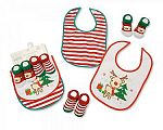 Baby Christmas Bibs and Socks 4 Pieces Set - 0689 - Wholesale