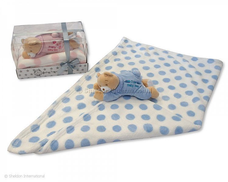 Baby Blanket Gift Box : Baby blanket with teddy bear in box pink and sky wholesale
