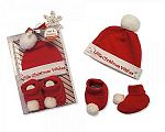 Wholesale Hat and Booties Cotton Gift Set - Little Christmas Wishes